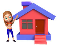 Kid girl with Home. 3d rendered illustration of kid girl with Home Stock Photos