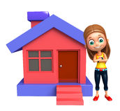 Kid girl with Home. 3d rendered illustration of kid girl with Home Stock Photography