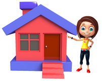 Kid girl with Home Stock Photography