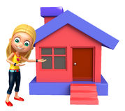 Kid girl with Home Royalty Free Stock Photo