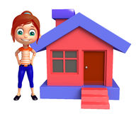 Kid girl with Home. 3d rendered illustration of kid girl with Home Royalty Free Stock Photo