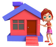 Kid girl with Home. 3d rendered illustration of kid girl with Home Stock Image
