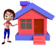 Kid girl with Home Stock Images
