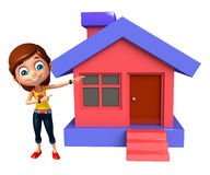 Kid girl with Home. 3d rendered illustration of kid girl with Home Royalty Free Stock Photos