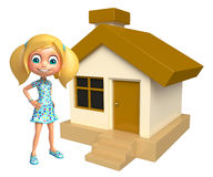 Kid girl with Home. 3d rendered illustration of kid girl with Home Royalty Free Stock Image