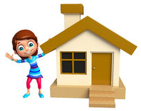 Kid girl with Home Royalty Free Stock Image