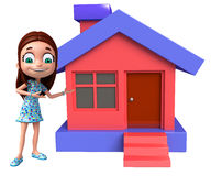 Kid girl with Home Stock Image
