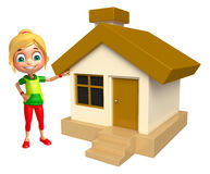 Kid girl with Home. 3d rendered illustration of kid girl with Home Royalty Free Stock Photography