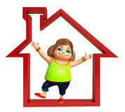 Kid girl with Home sign Stock Photos