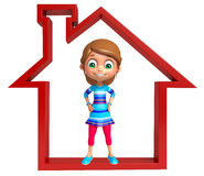 Kid girl with Home sign. 3d rendered illustration of Kid girl with Home sign Stock Image