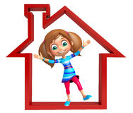 Kid girl with Home sign. 3d rendered illustration of Kid girl with Home sign Royalty Free Stock Photo