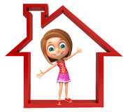 Kid girl with Home sign Stock Image