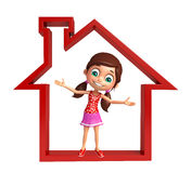 Kid girl with Home sign Royalty Free Stock Image