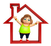 Kid girl with Home sign. 3d rendered illustration of kid girl with  Home sign Stock Photo