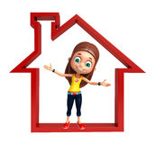 Kid girl with Home sign Stock Images