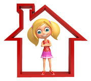 Kid girl with Home sign. 3d rendered illustration of kid girl with Home sign Royalty Free Stock Photography
