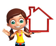 Kid girl with Home sign Royalty Free Stock Photography