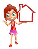 Kid girl with Home sign Royalty Free Stock Photos