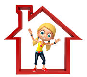 Kid girl with Home sign. 3d rendered illustration of Kid girl with Home sign Royalty Free Stock Images