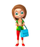 Kid girl with Ice cream and schoolbag Royalty Free Stock Images
