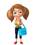Kid girl with Ice cream and schoolbag Royalty Free Stock Photography