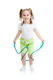 Kid girl jumping with rope isolated Stock Images
