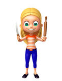 Kid girl with Kichen equipment vector illustration