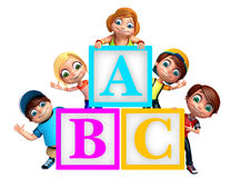 Kid girl and kid boy with ABC alphabates. 3d rendered illustration of kid girl and kid boy with ABC alphabates Royalty Free Stock Photos