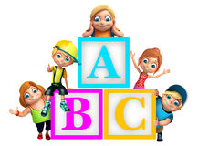Kid girl and kid boy with ABC alphabates. 3d rendered illustration of kid girl and kid boy with ABC alphabates Stock Images