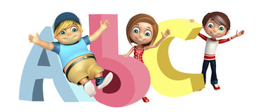 Kid girl and kid boy with ABC sign Royalty Free Stock Photography