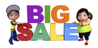 Kid girl and kid boy with Big sale sign. 3d rendered illustration of kid girl and kid boy with Big sale sign Royalty Free Stock Photos