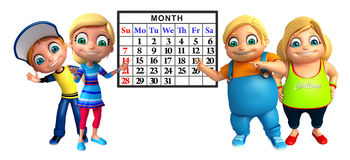 Kid girl and kid boy with Calender. 3d rendered illustration of kid girl and kid boy with Calender Royalty Free Stock Photography