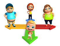 Kid girl, kid boy and cute baby with Arrow Royalty Free Stock Images