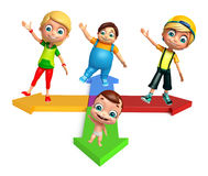 Kid girl, kid boy and cute baby with Arrow Royalty Free Stock Photography