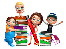 Kid girl, kid boy and cute baby with Book stack and pencil Royalty Free Stock Image