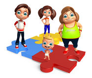 Kid girl, kid boy and cute baby with Puzzle Royalty Free Stock Photo