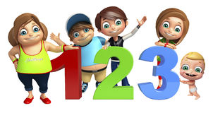 Kid girl, kid boy and cute baby with 123 sign Royalty Free Stock Images