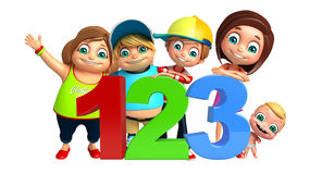 Kid girl, kid boy and cute baby with 123 sign Stock Photography
