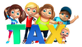 Kid girl, kid boy and cute baby with Tax sign. 3d rendered illustration of kid girl, kid boy and cute baby with Tax sign Royalty Free Stock Photos