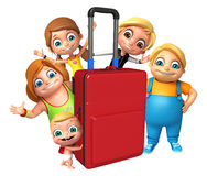 Kid girl, kid boy and cute boy with Travel bag Stock Images