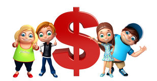Kid girl and kid boy with dollar sign Royalty Free Stock Photography
