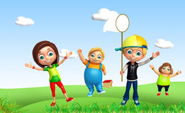 Kid girl and kid boy with Funny pose stock illustration