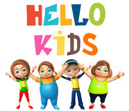 Kid girl and kid boy with Hello kids sign Royalty Free Stock Photo