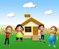 Kid girl and kid boy with Home. 3d rendered illustration of kid girl and kid boy with Home Royalty Free Stock Photos