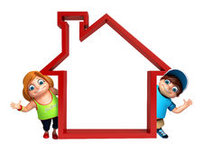 Kid girl and kid boy with Home sign. 3d rendered illustration of kid girl and kid boy with Home sign Stock Image