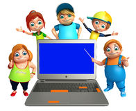 Kid girl and kid boy with Laptop Royalty Free Stock Photography