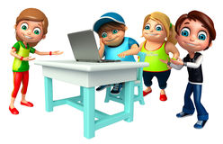 Kid girl and kid boy with Laptop Stock Image