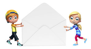 Kid girl and kid boy with Mail Stock Photography