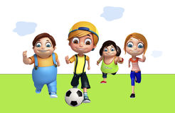 Kid girl and kid boy with Playing football. 3d rendered illustration of kid girl and kid boy with Playing football Stock Photos