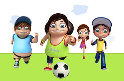 Kid girl and kid boy with Playing football. 3d rendered illustration of kid girl and kid boy with Playing football Stock Photo